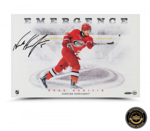 "Noah Hanifin Signed ""Emergence"" 11x17 Photo -0"