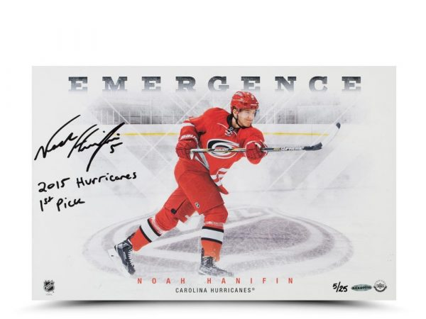 "Noah Hanifin Signed ""Emergence"" 11x17 Photo with ""2015 Hurricanes First Pick"" Inscription-14111"