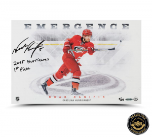 "Noah Hanifin Signed ""Emergence"" 11x17 Photo with ""2015 Hurricanes First Pick"" Inscription-0"