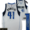 Dirk Nowitzki Signed Dallas Mavericks White 2014 Adidas Swingman NBA Jersey - Panini-0