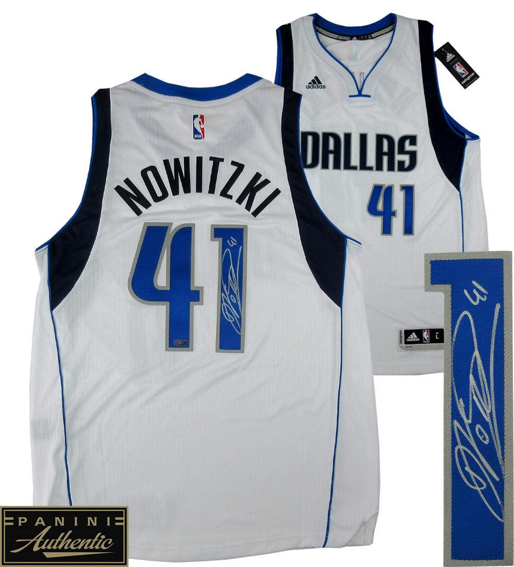 online store ba619 46b0a Dirk Nowitzki Signed Dallas Mavericks White 2014 Adidas Swingman NBA Jersey  - Panini