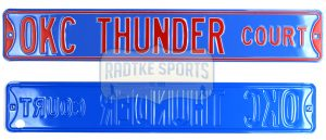 Oklahoma City Thunder Court Officially Licensed Authentic Steel 36x6 Blue & Orange NBA Street Sign-0