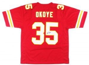 Christian Okoye Signed Kansas City Chiefs Red NFL Custom Jersey - JSA-0