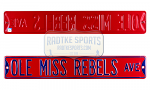 Ole Miss Rebels Avenue Officially Licensed Authentic Steel 36x6 Red & Blue NCAA Street Sign-0