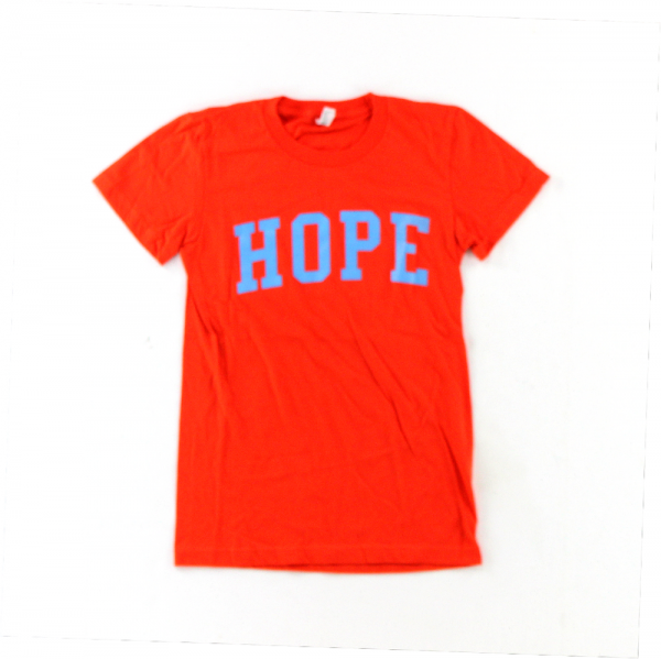 "Official Favre 4 Hope Orange T-Shirt With Blue ""HOPE""-0"