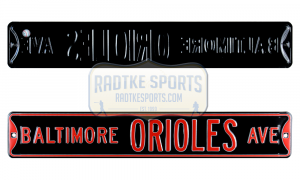 Baltimore Orioles Avenue Officially Licensed Authentic Steel 36x6 Orange & Black MLB Street Sign-0