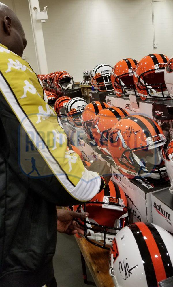 Chad Johnson Signed Oregon State University Beavers NCAA Schutt Full Size Orange Helmet-32797