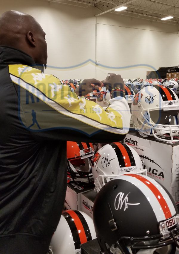 Chad Johnson Signed Oregon State University Beavers NCAA Schutt Full Size White Helmet-32801