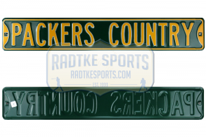 Green Bay Packers Country Officially Licensed Authentic Steel 36x6 Green & Yellow NFL Street Sign-0