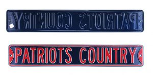 New England Patriots Country Officially Licensed Authentic Steel 36x6 Blue & Red NFL Street Sign-0