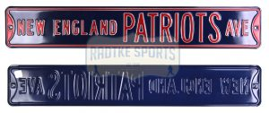 New England Patriots Avenue Officially Licensed Authentic Steel 36x6 Blue & Red NFL Street Sign-0
