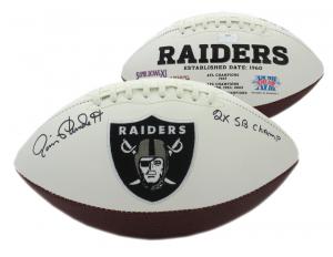 "Jim Plunkett Signed Oakland Raiders Embroidered NFL Logo Football with ""2x Superbowl Champs"" Inscription-0"