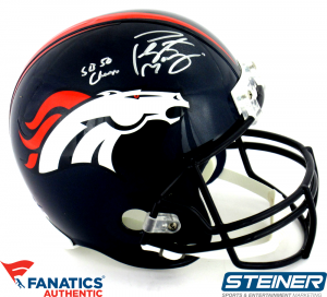"Peyton Manning Signed Denver Broncos Riddell Full Size Replica NFL Helmet with ""SB 50 Champ"" Inscription - Steiner & Fanatics-0"