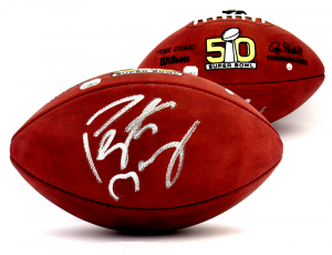 Peyton Manning Signed Denver Broncos Wilson Authentic Super Bowl 50 NFL Football - Steiner & Fanatics-0