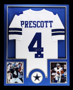 Dak Prescott Signed Dallas Cowboys Custom Framed White Jersey -0