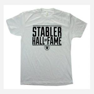Men's White Ken Stabler HOF T-Shirt-0