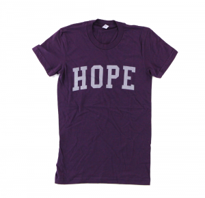 "Official Favre 4 Hope Ladies Purple T-Shirt With Grey ""HOPE""-0"