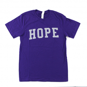"Official Favre 4 Hope Adult Purple T-Shirt With Grey ""HOPE""-0"