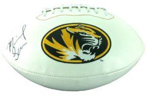 Michael Sam Autographed/Signed Missouri Tigers White Paneled Logo Football-0