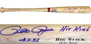 Pete Rose Autographed/Signed Rawlings Big Stick Blonde MLB Bat Hit King 4256-0