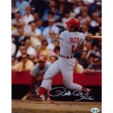 Pete Rose Autographed/Signed Cincinnati Reds 8x10 MLB Photo Swinging-0