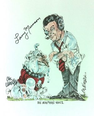Larry Munson Autographed/Signed Georgia Bulldogs 11x14 His Masters Voice Print-0