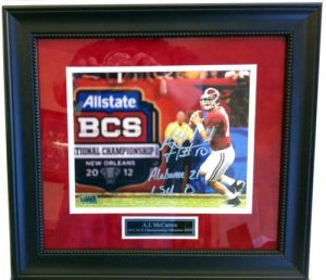 A.J. McCarron Autographed/Signed Alabama Crimson Tide Framed 2012 BCS Championship 16x20 NCAA Photo-0