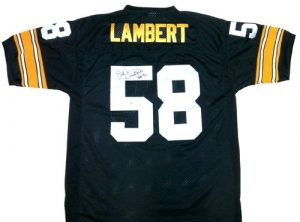 "Jack Lambert Autographed/Signed Pittsburgh Steelers Mitchell & Ness Throwback NFL Jersey with ""HOF 90"" Inscription-0"