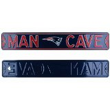 New England Patriots Man Cave Officially Licensed Authentic Steel 36x6 Navy & Red NFL Street Sign-0