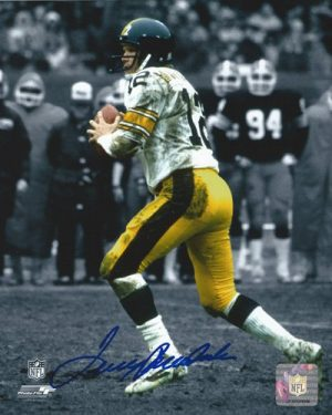 "Terry Bradshaw Autographed/Signed Pittsburgh Steelers 8x10 NFL Photo ""Blue Ink""-0"