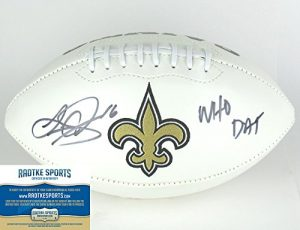 """Lance Moore Autographed/Signed New Orleans Saints NFL Logo Football with """"Who Dat"""" Inscription-0"""