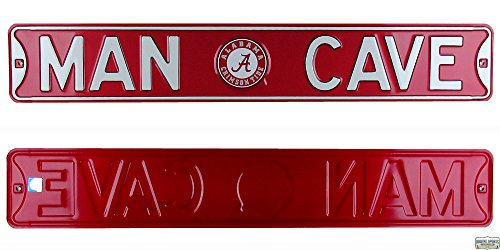 Alabama Crimson Tide Man Cave Officially Licensed Authentic Steel 36x6 Crimson amp White NCAA Street Sign-0