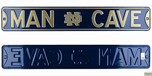 Notre Dame Fighting Irish Man Cave Officially Licensed Authentic Steel 36x6 Navy Blue & Gold NCAA Street Sign-0