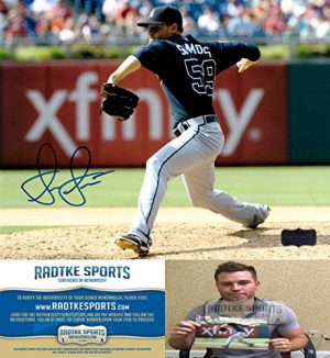 "Shae Simmons Autographed/Signed Atlanta Braves 8x10 MLB Photo ""Blue Jersey""-0"