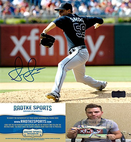 "Shae Simmons Autographed/Signed Atlanta Braves 8x10 MLB Photo ""Blue Jersey""-0"