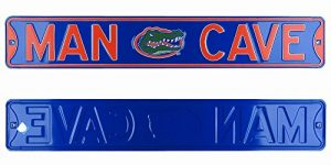 Florida Gators Man Cave Officially Licensed Authentic Steel 36x6 Blue & Orange NCAA Street Sign-0