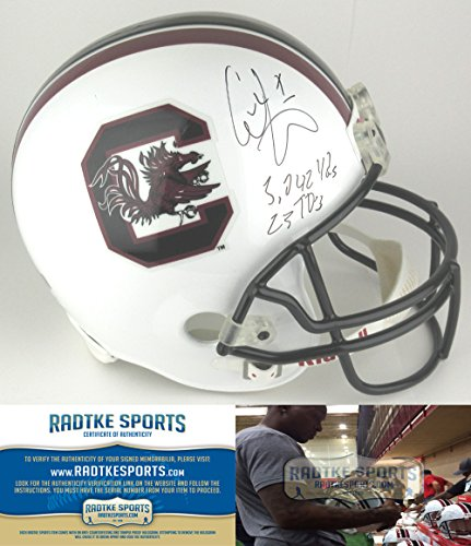 Alshon Jeffery Autographed/Signed South Carolina Gamecocks Riddell Full Size NCAA Helmet with Career Stats Inscription-0