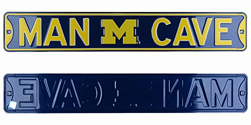 Michigan Wolverines Man Cave Officially Licensed Authentic Steel 36x6 Maize amp Blue NCAA Street Sign-0