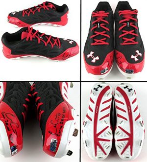 "Evan Gattis Autographed/Signed Game Issued Red & Black Under Armor Cleats with ""Game Issued 2014"" Inscription-0"