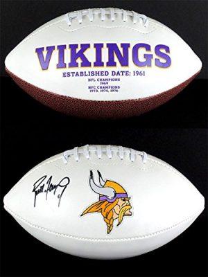Brett Favre Autographed/Signed Minnesota Vikings White Panel NFL Logo Football-0