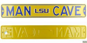 Louisiana State LSU Tigers Man Cave Officially Licensed Authentic Steel 36x6 Purple & Gold NCAA Street Sign-0