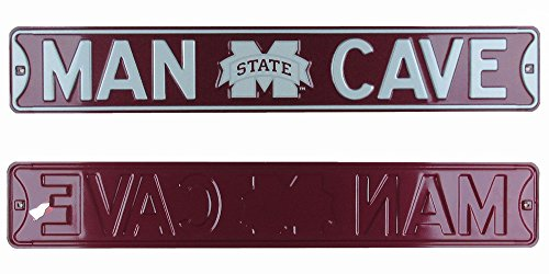 Mississippi State Bulldogs MSU Man Cave Officially Licensed Authentic Steel 36x6 Maroon & White NCAA Street Sign-0