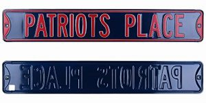 New England Patriots Place Officially Licensed Authentic Steel 36x6 Navy & Red NFL Street Sign-0