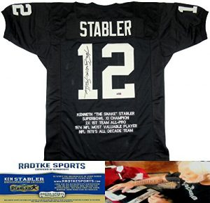 "Ken Stabler Autographed/Signed Oakland Raiders Black Custom NFL Jersey with ""Snake"" Inscription & Career Highlights Embroidery-0"