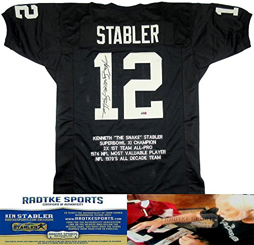 more photos 66800 65587 Ken Stabler Autographed/Signed Oakland Raiders Black Custom NFL Jersey with