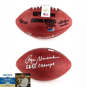 "Roger Staubach Autographed/Signed Official Wilson Authentic Super Bowl 12 NFL Football with ""SB XII Champs"" with Inscription-0"