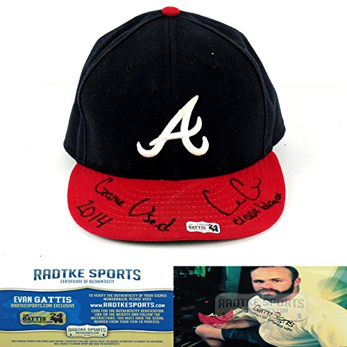 """Evan Gattis Autographed/Signed Game Used Atlanta Braves Home MLB Hat with """"El Oso Blanco - 2014 Game Used"""" Inscription-0"""