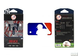 New York Yankees Navy & White MLB Officially Licensed Deuce Ear Buds with Built-In Microphone & Hands-Free Functionality-0