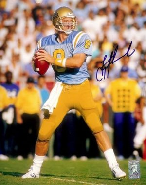 "Troy Aikman Autographed/Signed UCLA Bruins 8x10 NCAA Photo ""In The Pocket""-0"