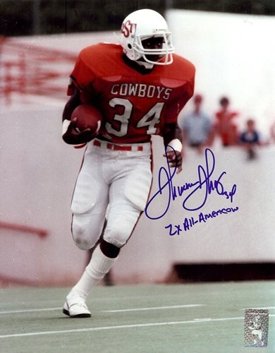 "Thurman Thomas Autographed/Signed Oklahoma State Cowboys 8x10 ""2x All-American""-0"